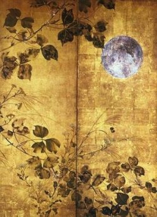 Autumn Flowers and Moon by Sakai Hoitsu