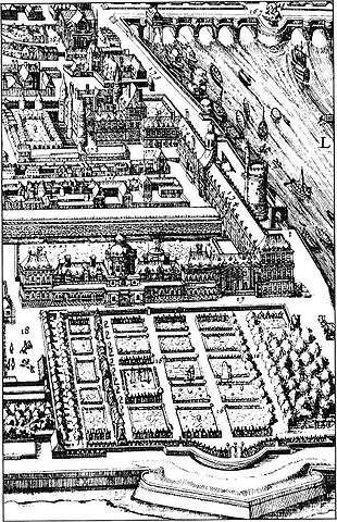 Black and white drawing of the garden (bottom of the picture) and Louvre (center of the picture)