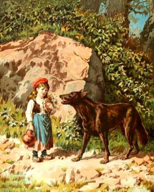 Little Red Riding Hood meets wolf - beware: there is no hunter in this version
