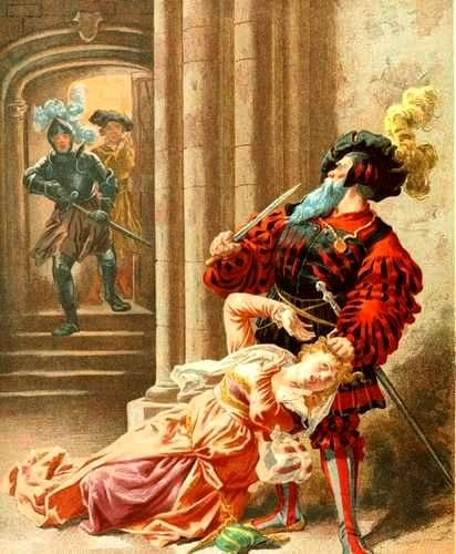 Bluebeard prepared to kill his next wife - her brothers will kill him instead