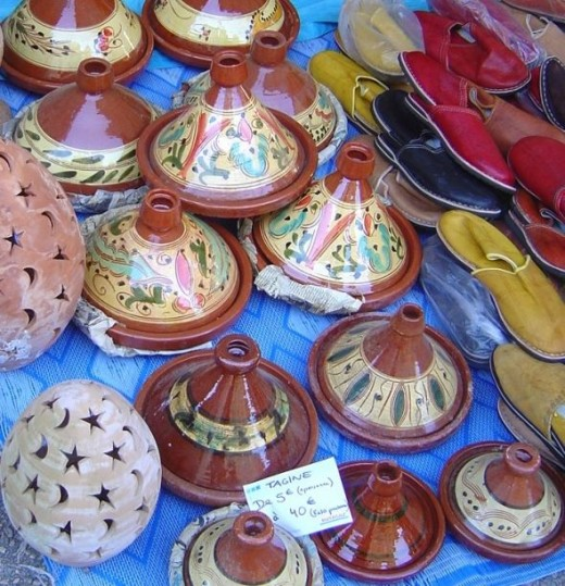 A colourful group of tagine pots on sale in Saint Junien, Limousin, France