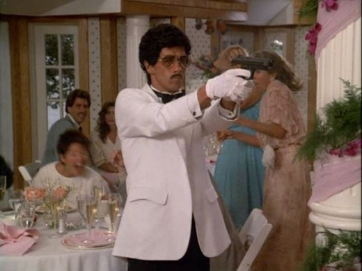 Swarthy, ambiguously ethnic, and impeccably dressed, a perfect macho 80's criminal stereotype (shown w/optional mustache) brought to you by Miami Vice.