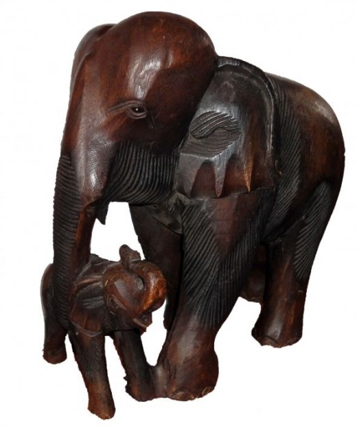 Hand Wood carved elephants