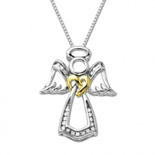 All XPY angel images XPY Sterling Silver and 14k Gold Angel White Diamond Pendant Necklace Amazon.com