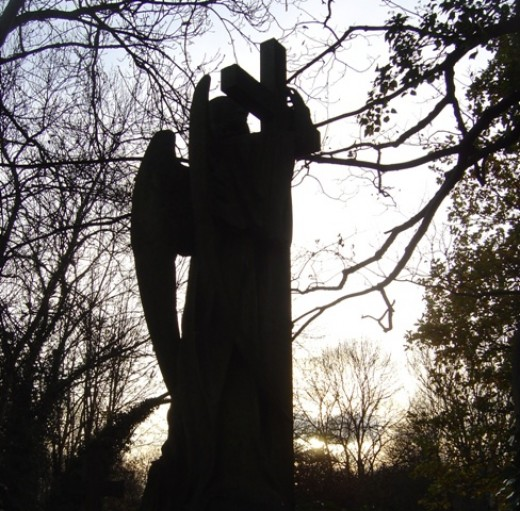 Highgate cemetery stone angel