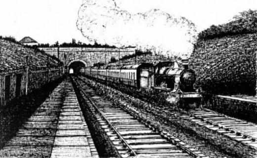 Artist impression of a steam train in the 1960s, Staple Hill tunnel, Bristol, England.