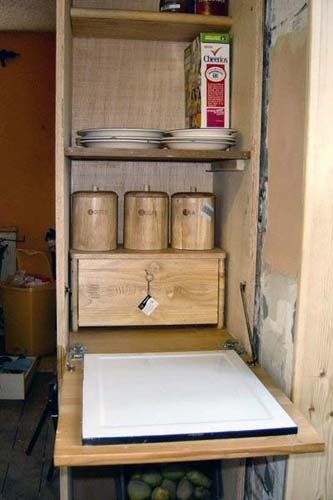 Also reusing enamel bread board salvaged from an old kitchen larder