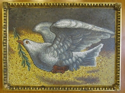Dove of Peace, presented by His Holiness Pope John Paul II, on the occasion of his visit to the United Nations, 2 October 1979. The mosaic is a copy of one that was executed in the Constantinian Basilica during the pontificate of Pope Innocent III (1