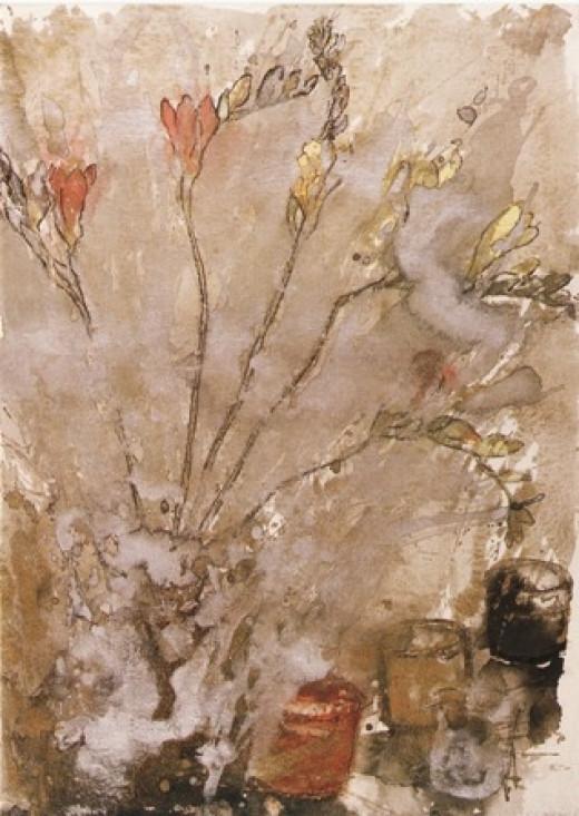 Freesias in Gold by Barbara Walton