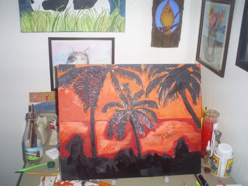 Here is a picture of the tropical sunset I painted for my mom.