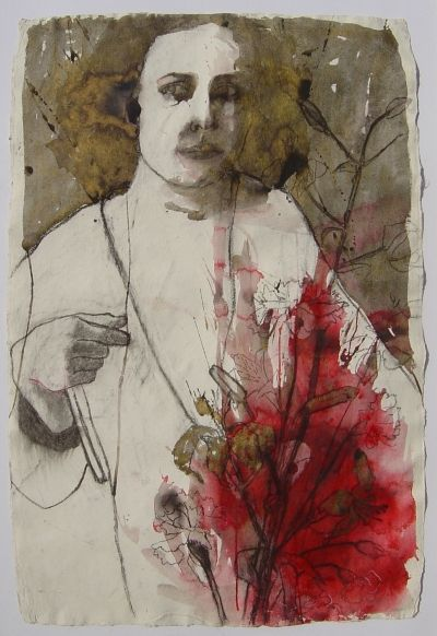 Woman with Red Flowers by Barbara Walton