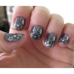 Star And Hello Kitty Nail Stamp Design