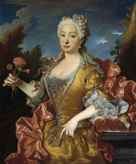 Queen Barbara of Portugal (1711-1758)  Painting by Jean Ranc c. 1729