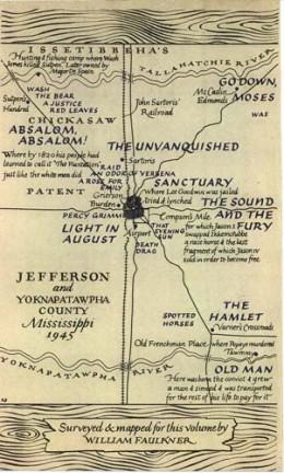 Faulkner's fictional Yoknapatawpha County (image from: lib.umich.edu)