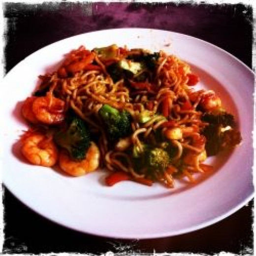 My chilli and garlic prawns with noodles