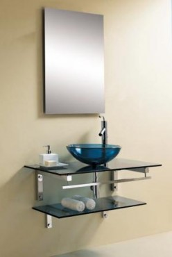 Glass vessel sinks with stainless steel bases and faucets are truly eye-catching
