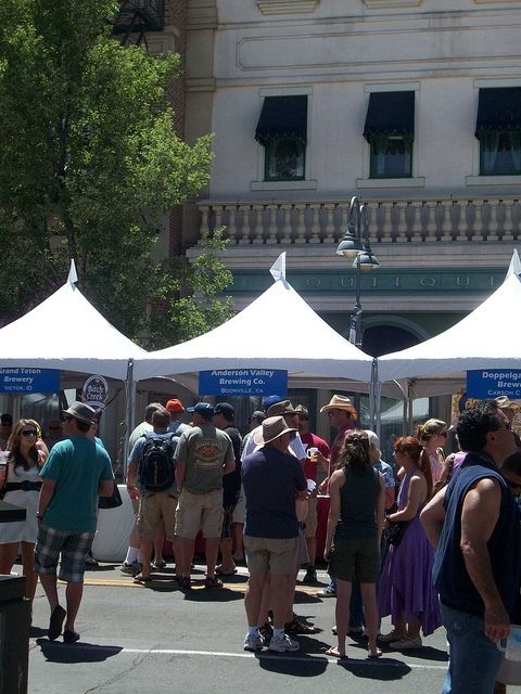Breweries from all over, offering samples in downtown Reno, Nevada
