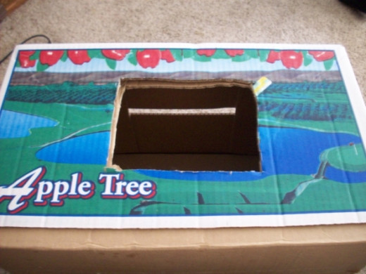 Hole cut through the box