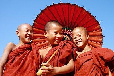 smiling buddhist boys