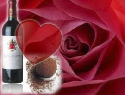 wine, roses and chocolate
