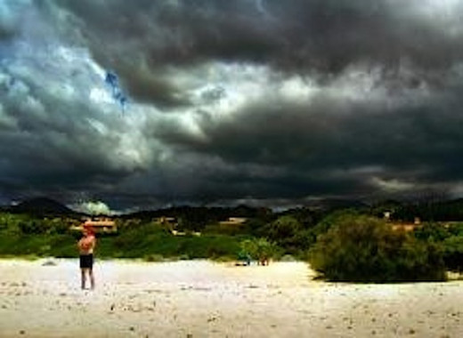 dramatic overcast beach