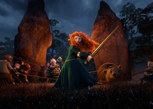 Merida shows her bravery when she tries to protect mother bear from the DunBroch warriors.