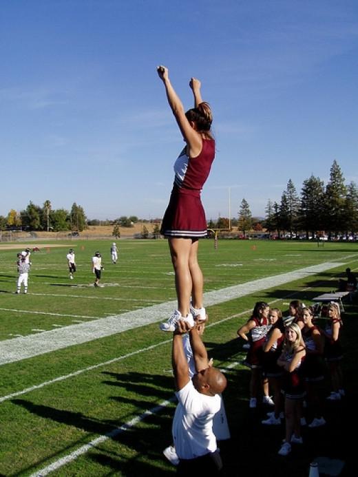 Cheerleaders on the Rocklin campus field