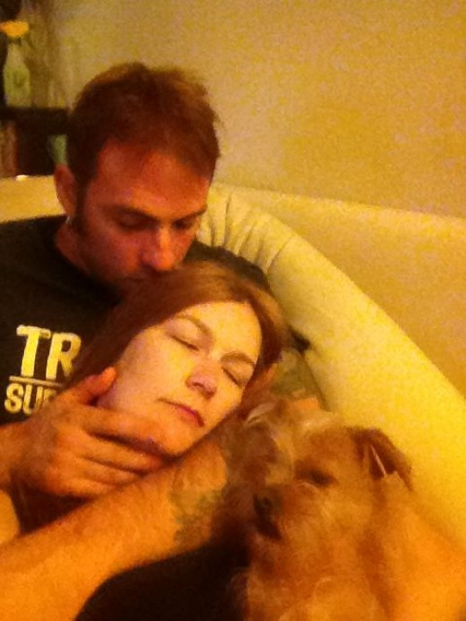 Sleeping me!  Dax usually forces his way in.  Photobomb!