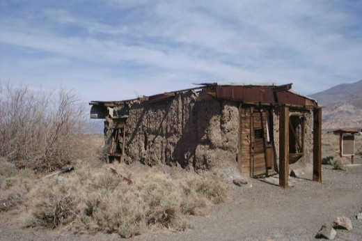 Old adobe ghost town house