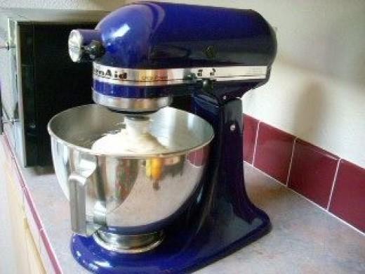 Mixing Dough with KitchenAid mixer.