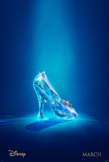 This is a poster for 2015's Cinderella. As you can see, this is not going to be easy to dance in this slipper. This glass slipper looks very breakable, so don't drop this slipper at the end of the night. Place the slipper on the stair or on the floor