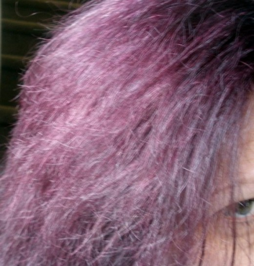 Burgundy hair. Lasted through only about 4 shampoos before it started to fade.