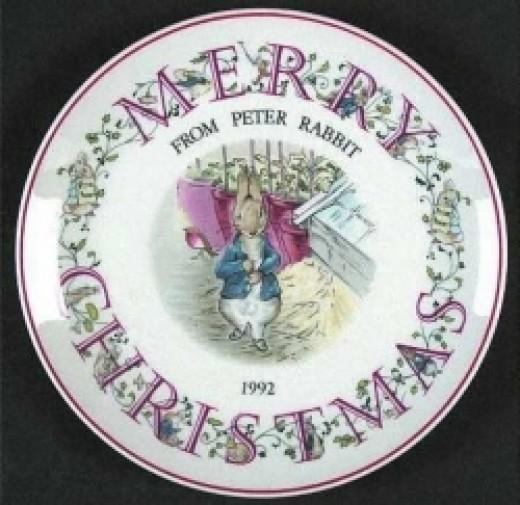 "Wedgwood Peter Rabbit Christmas Plate 1992 (8"")"