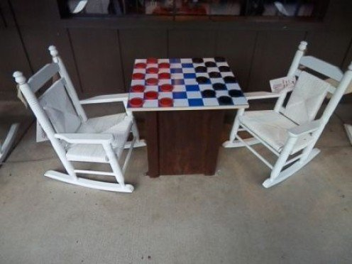 checkers table available to entertain while you wait