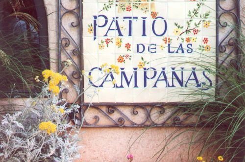 Spanish style decoration of a sign.