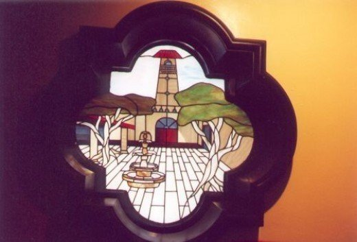 Stained glass window in one of the restaurants.