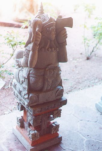 Aztec god sculpture.