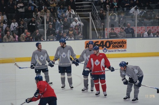 Maple Leafs Open Practice on my birthday!    Pavel Kubina  Wade Belak  & Bryan McCabe in Grey Robert Reichel in Red To acc't for the 2 on far left ??