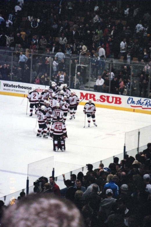 the New Jersey Devils celebrate their win