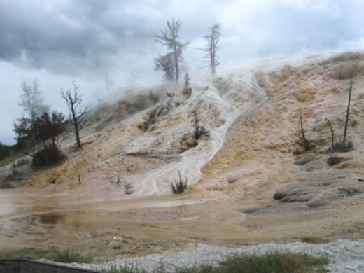 At Mammoth Hot Springs under cloud cover.