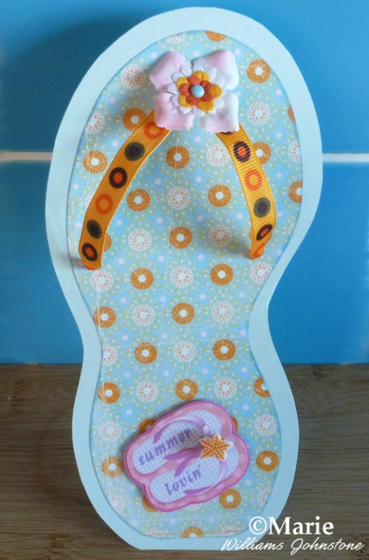 Completed flip flop handmade greeting card.