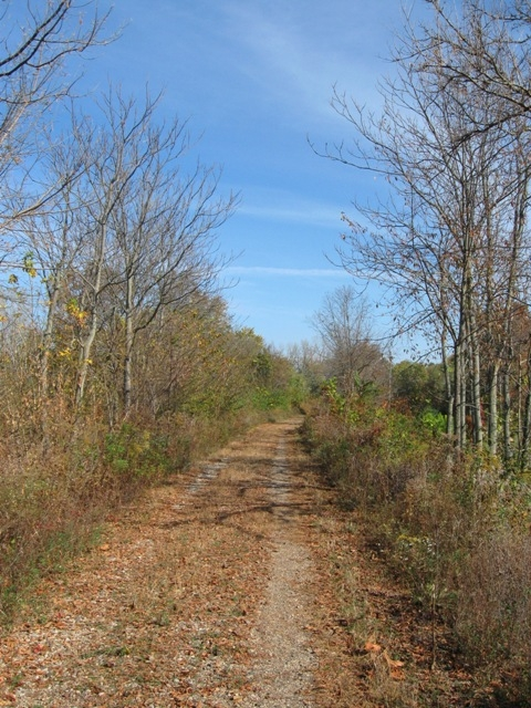 The north end of the southern (12.7 mile) section of the Nickel Plate trail. This is where the pavement ends, on the southwestern edge of Peru.