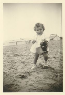 Unknown child on the beach at De Panne, Belgium (ca. 1959-1960) by jinterwas, on Flickr