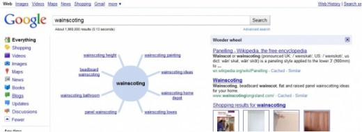 "A look at Wonder Wheel's initial results for the term ""wainscoting"". Notice too the search results on the right and the total search volume indicated just below the search box giving you an indication of competition."