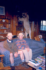 Joker and Grumpy goofing around at Goose Creek Cabins with some borrowed Safari hats