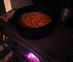 Pumpkin and orange jam cooking