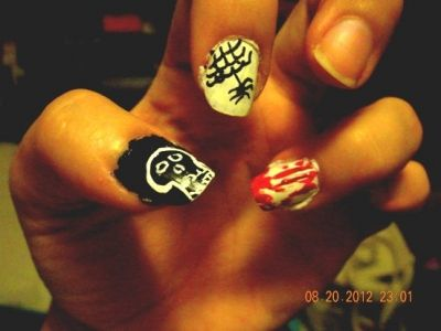 My quickie nail art.. Skull, web & blood