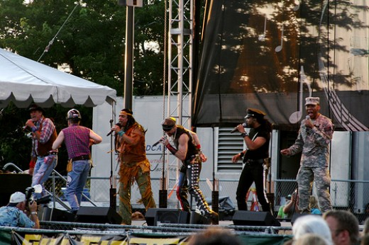 A Village People tribute band performing during Hot August Nights