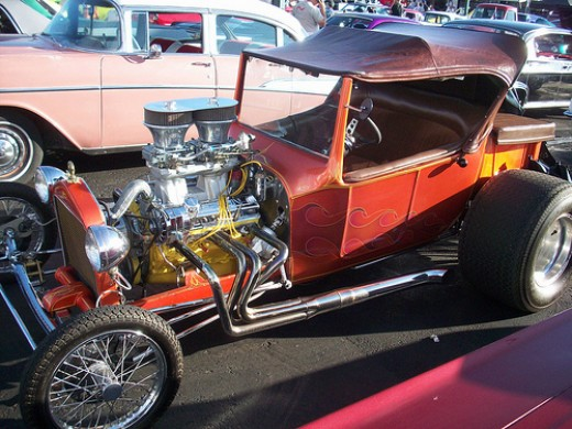 A hot rod T-bucket on display