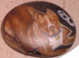 Pit Pull Dog Rock painting